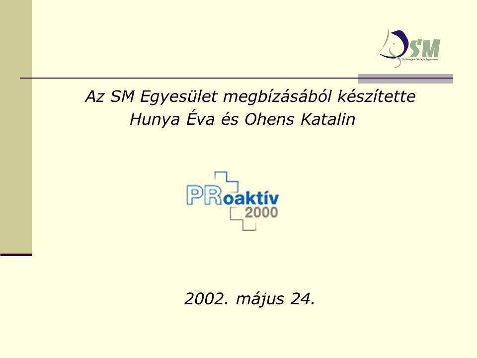 Az SM Egyesület megbízásából készítette Hunya Éva és Ohens Katalin 2002. május 24.