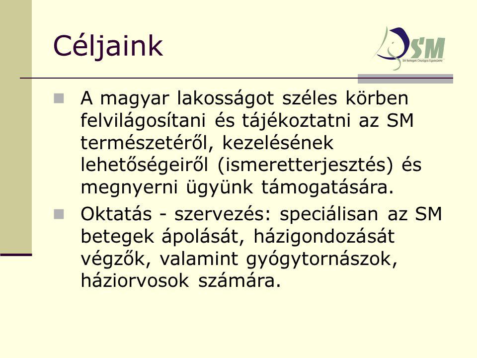 Céljaink A magyar lakosságot széles körben felvilágosítani és tájékoztatni az SM természetéről, kezelésének lehetőségeiről (ismeretterjesztés) és megnyerni ügyünk támogatására.