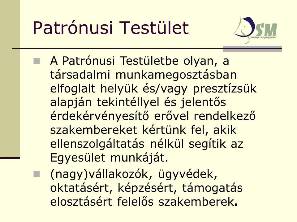 Patrónusi Testület A Patrónusi Testületbe olyan, a társadalmi munkamegosztásban elfoglalt helyük és/vagy presztízsük alapján tekintéllyel és jelentős érdekérvényesítő erővel rendelkező szakembereket kértünk fel, akik ellenszolgáltatás nélkül segítik az Egyesület munkáját.