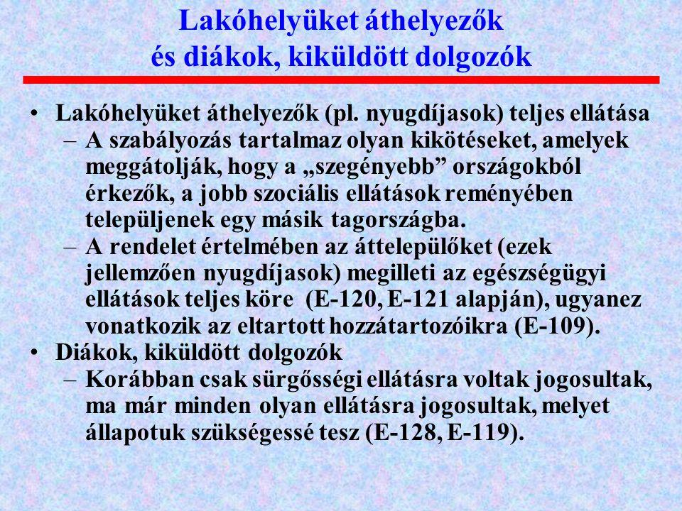 """Lakóhelyüket áthelyezők (pl. nyugdíjasok) teljes ellátása –A szabályozás tartalmaz olyan kikötéseket, amelyek meggátolják, hogy a """"szegényebb"""" országo"""