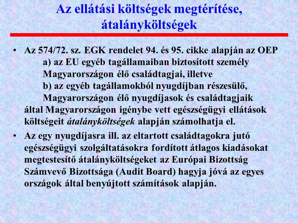 Az 574/72. sz. EGK rendelet 94. és 95. cikke alapján az OEP a) az EU egyéb tagállamaiban biztosított személy Magyarországon élő családtagjai, illetve
