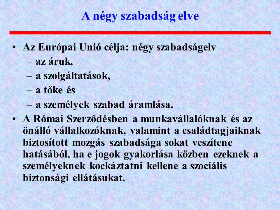 Az Európai Unió célja: négy szabadságelv –az áruk, –a szolgáltatások, –a tőke és –a személyek szabad áramlása. A Római Szerződésben a munkavállalóknak
