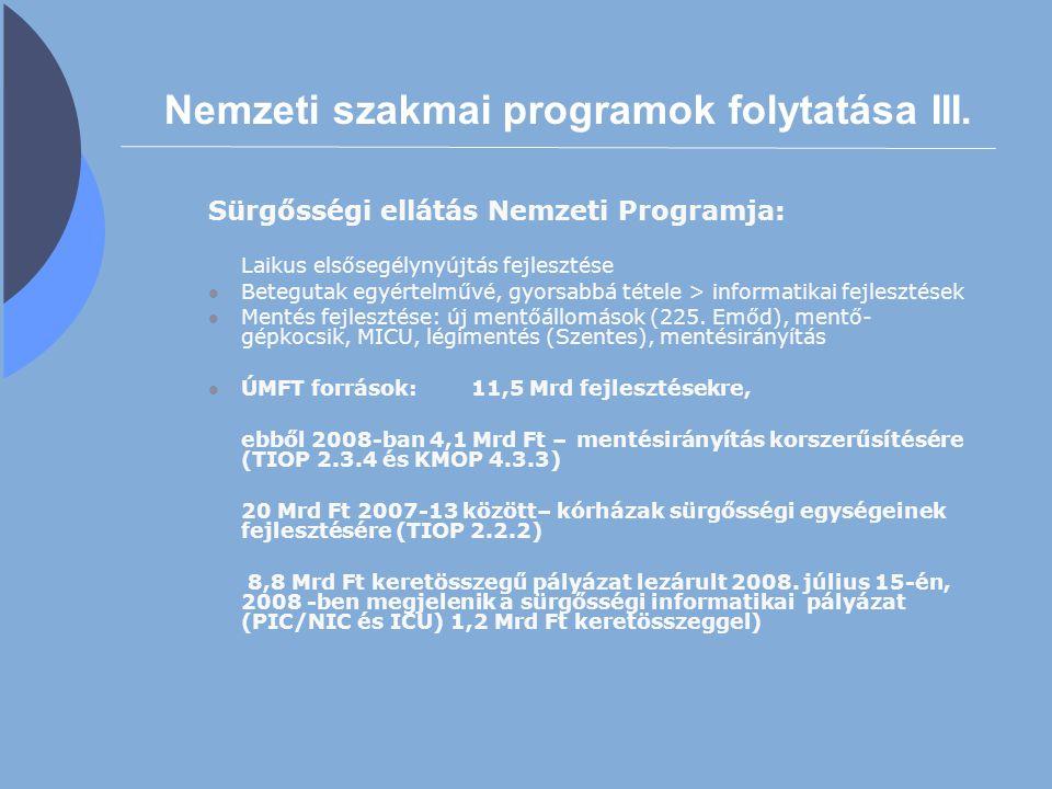 Nemzeti szakmai programok folytatása III. Sürgősségi ellátás Nemzeti Programja: Laikus elsősegélynyújtás fejlesztése Betegutak egyértelművé, gyorsabbá
