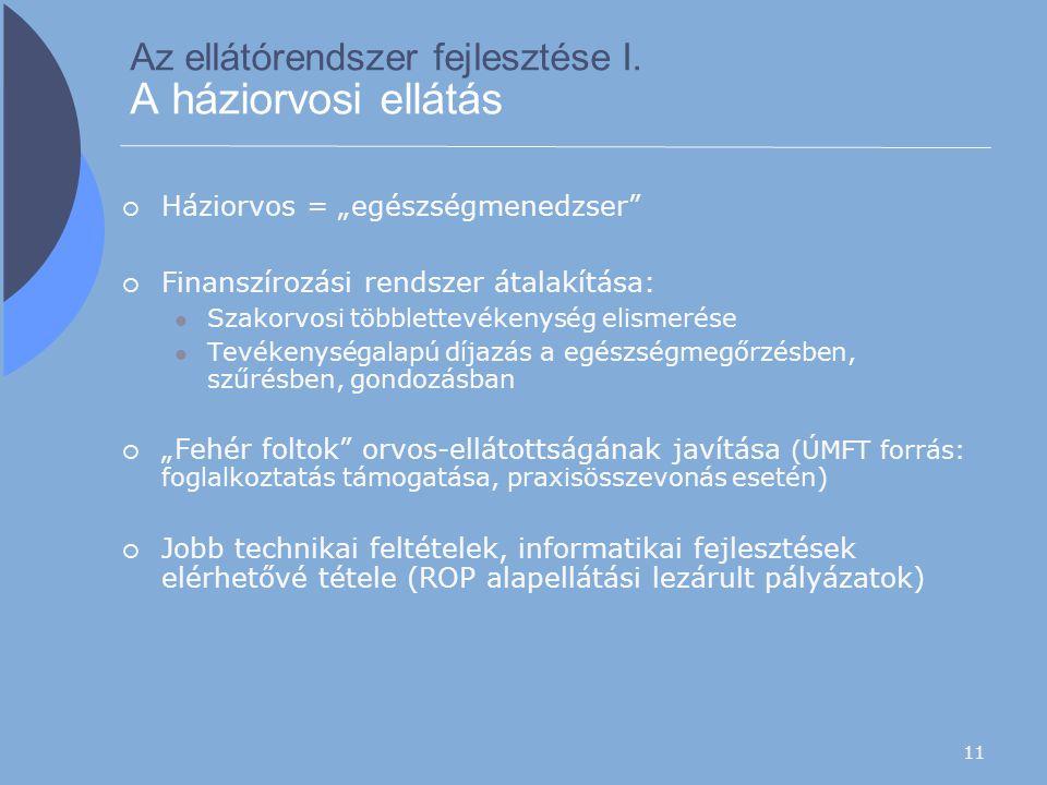"""11 Az ellátórendszer fejlesztése I. A háziorvosi ellátás  Háziorvos = """"egészségmenedzser""""  Finanszírozási rendszer átalakítása: Szakorvosi többlette"""