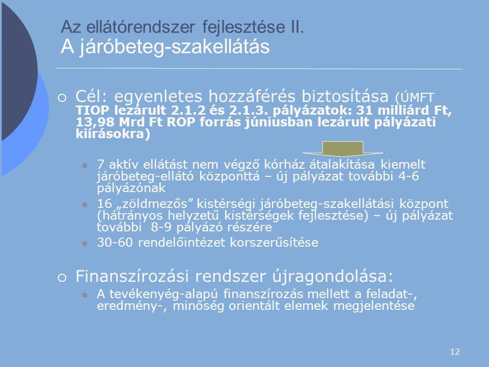 12 Az ellátórendszer fejlesztése II. A járóbeteg-szakellátás  Cél: egyenletes hozzáférés biztosítása (ÚMFT TIOP lezárult 2.1.2 és 2.1.3. pályázatok: