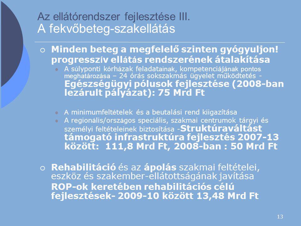 13 Az ellátórendszer fejlesztése III. A fekvőbeteg-szakellátás  Minden beteg a megfelelő szinten gyógyuljon! progressz í v ell á t á s rendszerének á