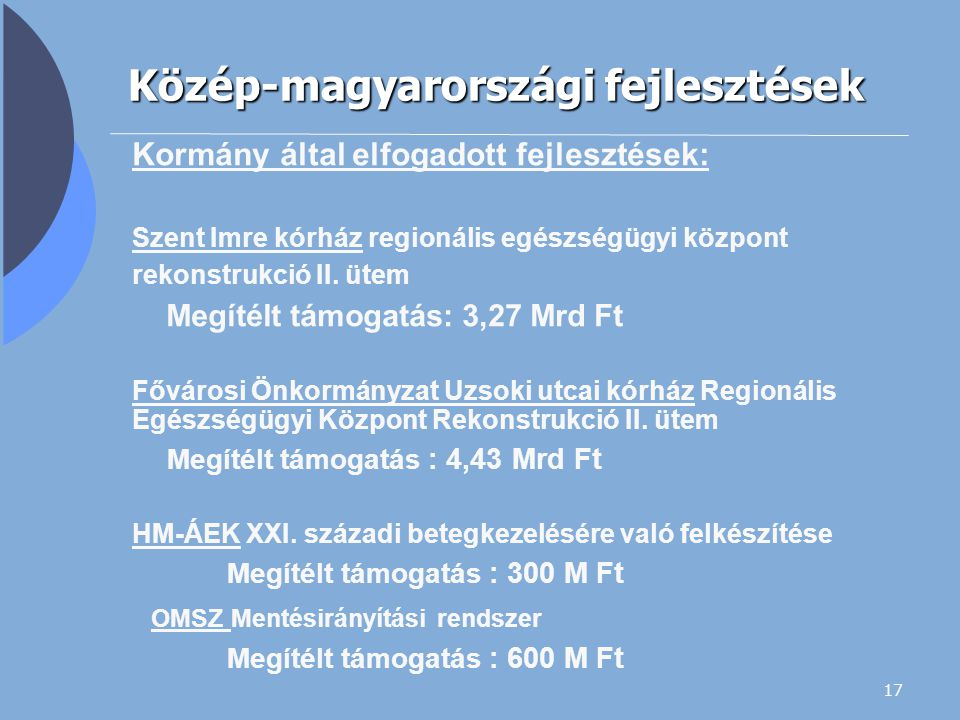 17 Közép-magyarországi fejlesztések Kormány által elfogadott fejlesztések: Szent Imre kórház regionális egészségügyi központ rekonstrukció II. ütem Me