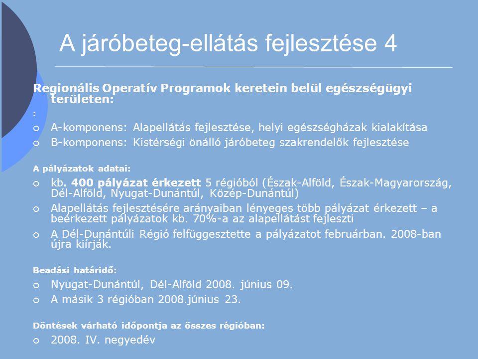 A járóbeteg-ellátás fejlesztése 4 Regionális Operatív Programok keretein belül egészségügyi területen: :  A-komponens: Alapellátás fejlesztése, helyi