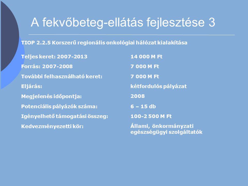 A fekvőbeteg-ellátás fejlesztése 3 TIOP 2.2.5 Korszerű regionális onkológiai hálózat kialakítása Teljes keret: 2007-201314 000 M Ft Forrás: 2007-20087