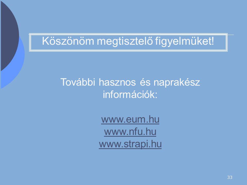33 Köszönöm megtisztelő figyelmüket! További hasznos és naprakész információk: www.eum.hu www.nfu.hu www.strapi.hu