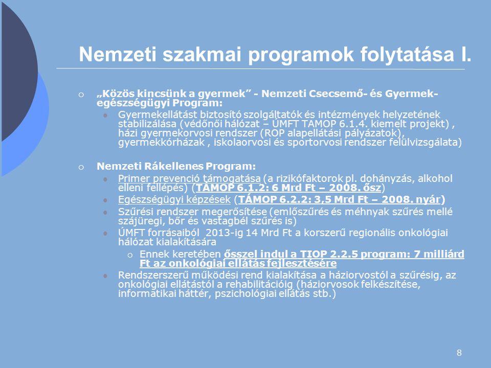 """8 Nemzeti szakmai programok folytatása I.  """"Közös kincsünk a gyermek"""" - Nemzeti Csecsemő- és Gyermek- egészségügyi Program: Gyermekellátást biztosító"""