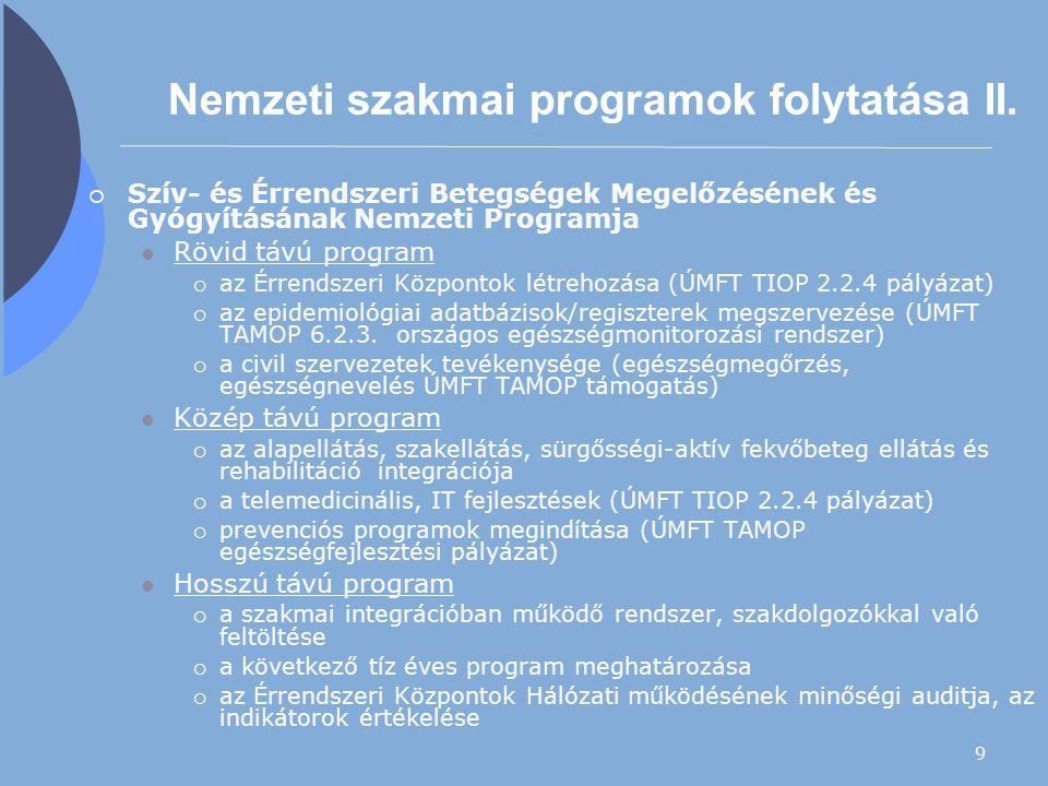 9 Nemzeti szakmai programok folytatása II.  Szív- és Érrendszeri Betegségek Megelőzésének és Gyógyításának Nemzeti Programja Rövid távú program  az