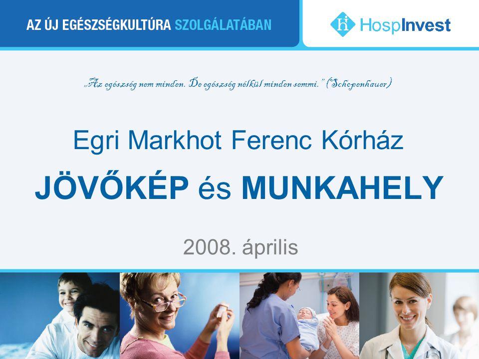 """""""Az egészség nem minden. De egészség nélkül minden semmi."""" (Schopenhauer) Egri Markhot Ferenc Kórház JÖVŐKÉP és MUNKAHELY 2008. április"""