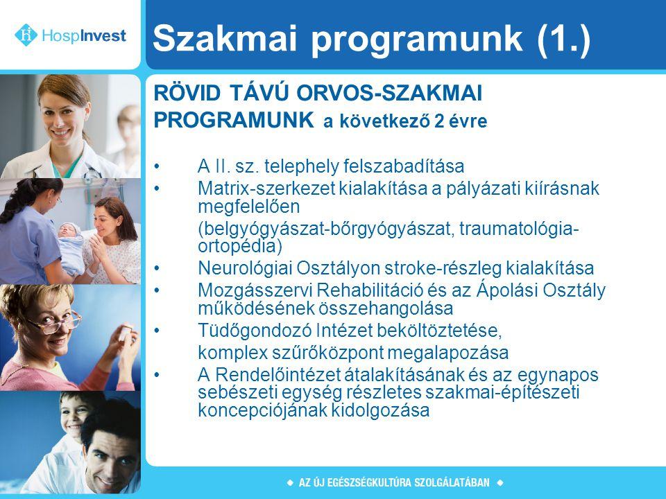 Szakmai programunk (1.) RÖVID TÁVÚ ORVOS-SZAKMAI PROGRAMUNK a következő 2 évre A II. sz. telephely felszabadítása Matrix-szerkezet kialakítása a pályá
