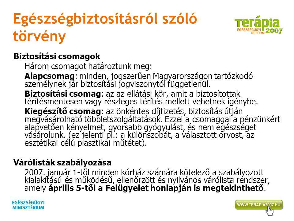 Egészségbiztosításról szóló törvény Biztosítási csomagok Három csomagot határoztunk meg: Alapcsomag: minden, jogszerűen Magyarországon tartózkodó szem