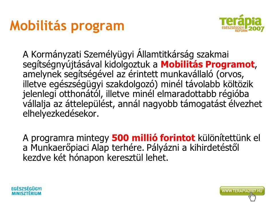 Mobilitás program A Kormányzati Személyügyi Államtitkárság szakmai segítségnyújtásával kidolgoztuk a Mobilitás Programot, amelynek segítségével az éri