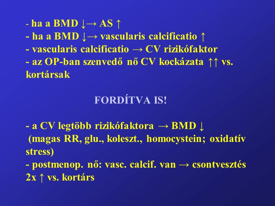 - ha a BMD ↓→ AS ↑ - ha a BMD ↓→ vascularis calcificatio ↑ - vascularis calcificatio → CV rizikófaktor - az OP-ban szenvedő nő CV kockázata ↑↑ vs. kor