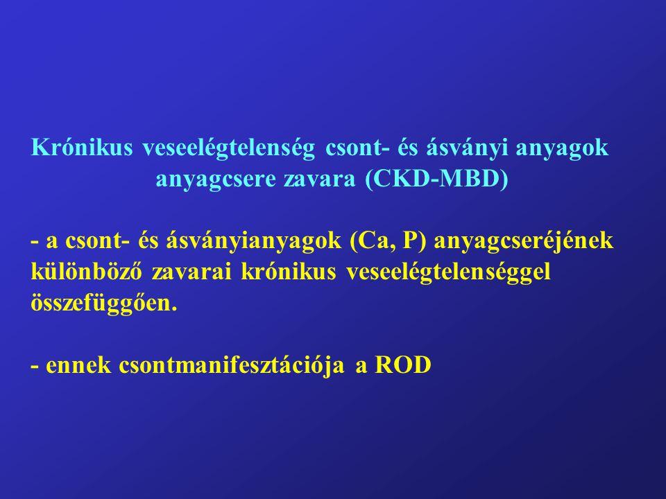 Krónikus veseelégtelenség csont- és ásványi anyagok anyagcsere zavara (CKD-MBD) - a csont- és ásványianyagok (Ca, P) anyagcseréjének különböző zavarai