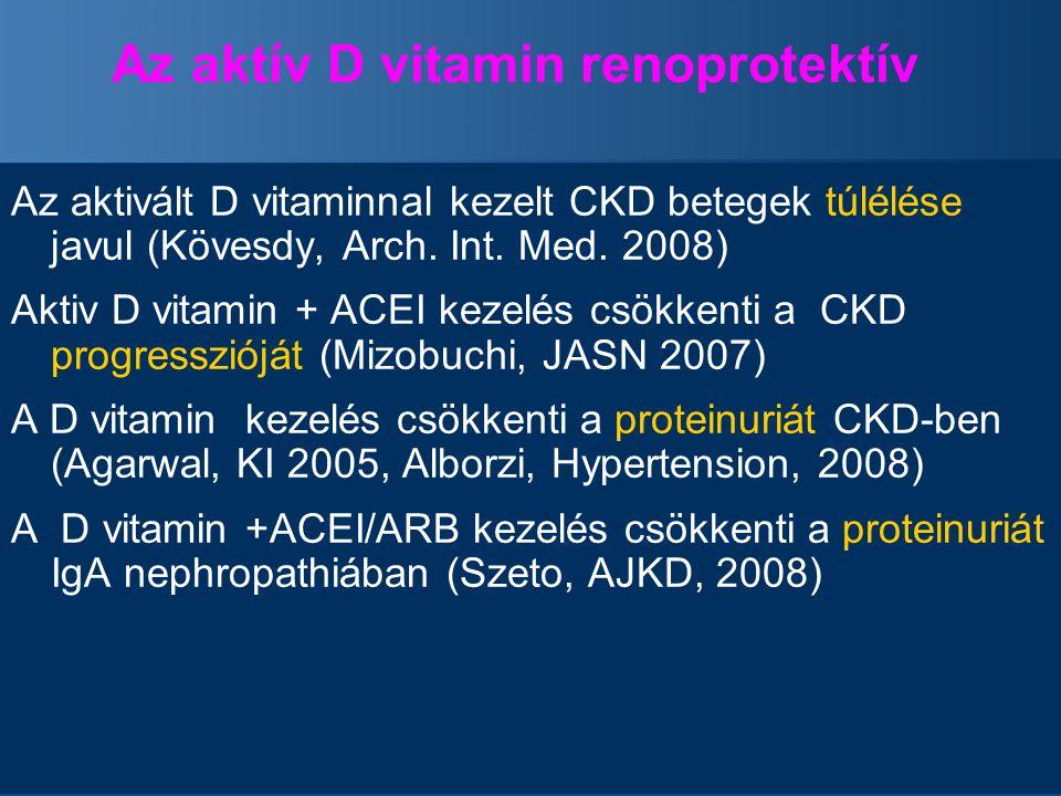 Az aktív D vitamin renoprotektív Az aktivált D vitaminnal kezelt CKD betegek túlélése javul (Kövesdy, Arch. Int. Med. 2008) Aktiv D vitamin + ACEI kez