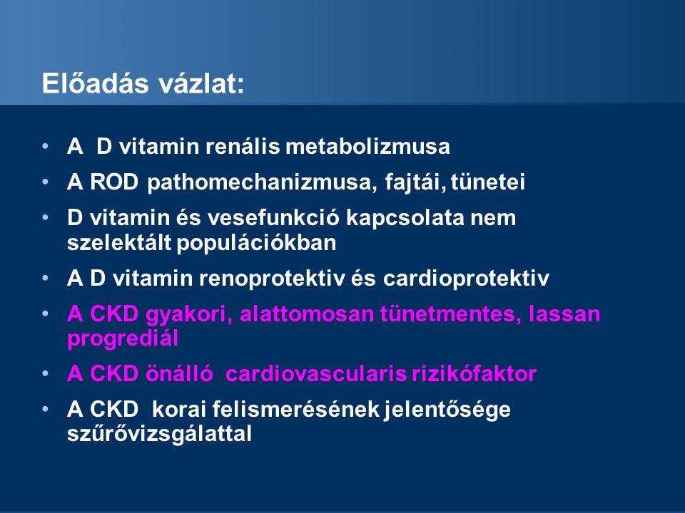 Előadás vázlat: A D vitamin renális metabolizmusa A ROD pathomechanizmusa, fajtái, tünetei D vitamin és vesefunkció kapcsolata nem szelektált populációkban A D vitamin renoprotektiv és cardioprotektiv A CKD gyakori, alattomosan tünetmentes, lassan progrediál A CKD önálló cardiovascularis rizikófaktor A CKD korai felismerésének jelentősége szűrővizsgálattal