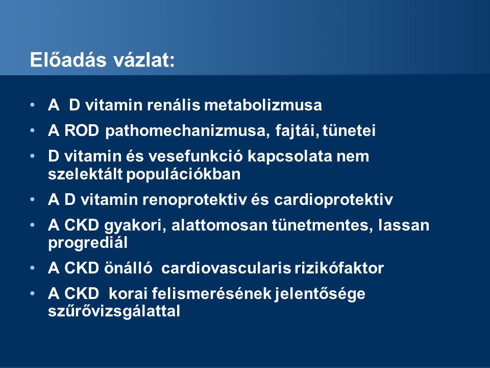 Az aktív D vitamin renoprotektív Az aktivált D vitaminnal kezelt CKD betegek túlélése javul (Kövesdy, Arch.