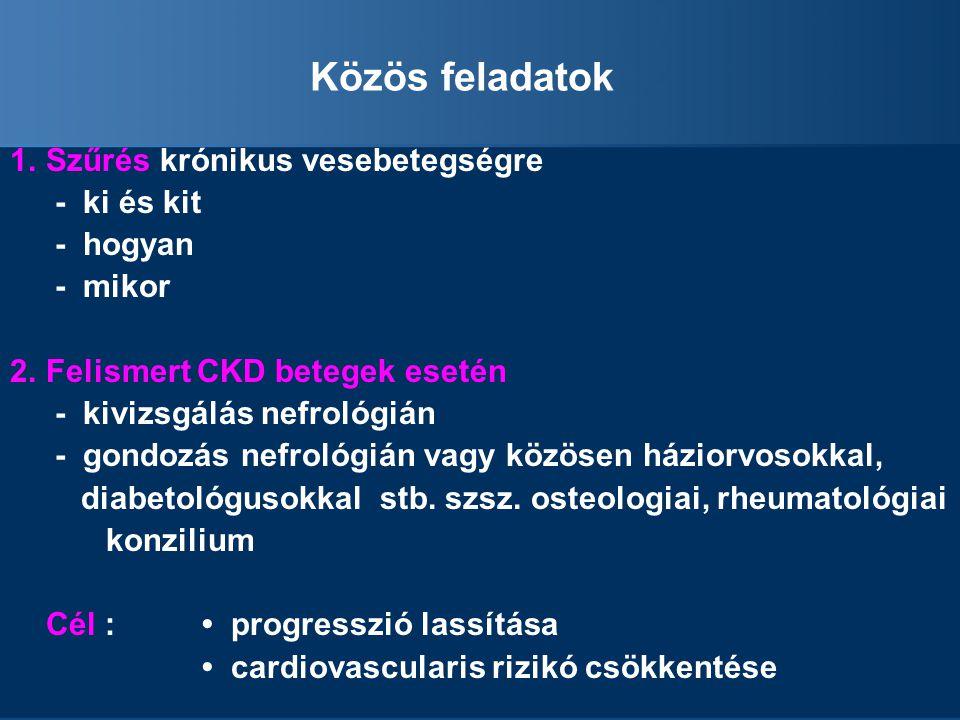 Közös feladatok 1.Szűrés krónikus vesebetegségre - ki és kit - hogyan - mikor 2.Felismert CKD betegek esetén - kivizsgálás nefrológián - gondozás nefrológián vagy közösen háziorvosokkal, diabetológusokkal stb.