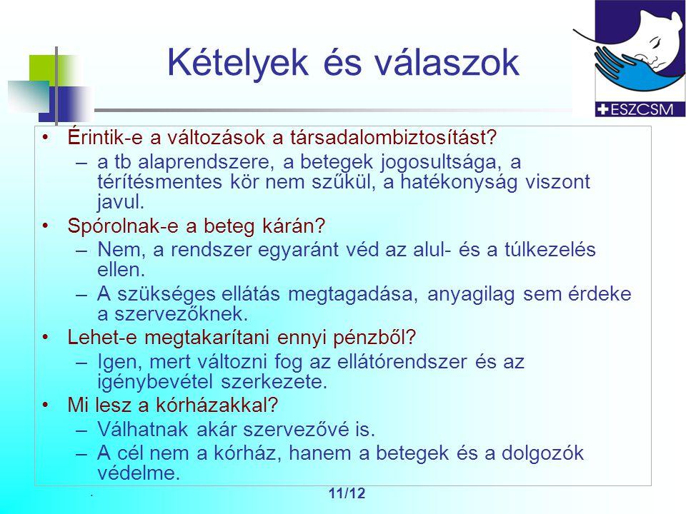 11/12 Kételyek és válaszok Érintik-e a változások a társadalombiztosítást.