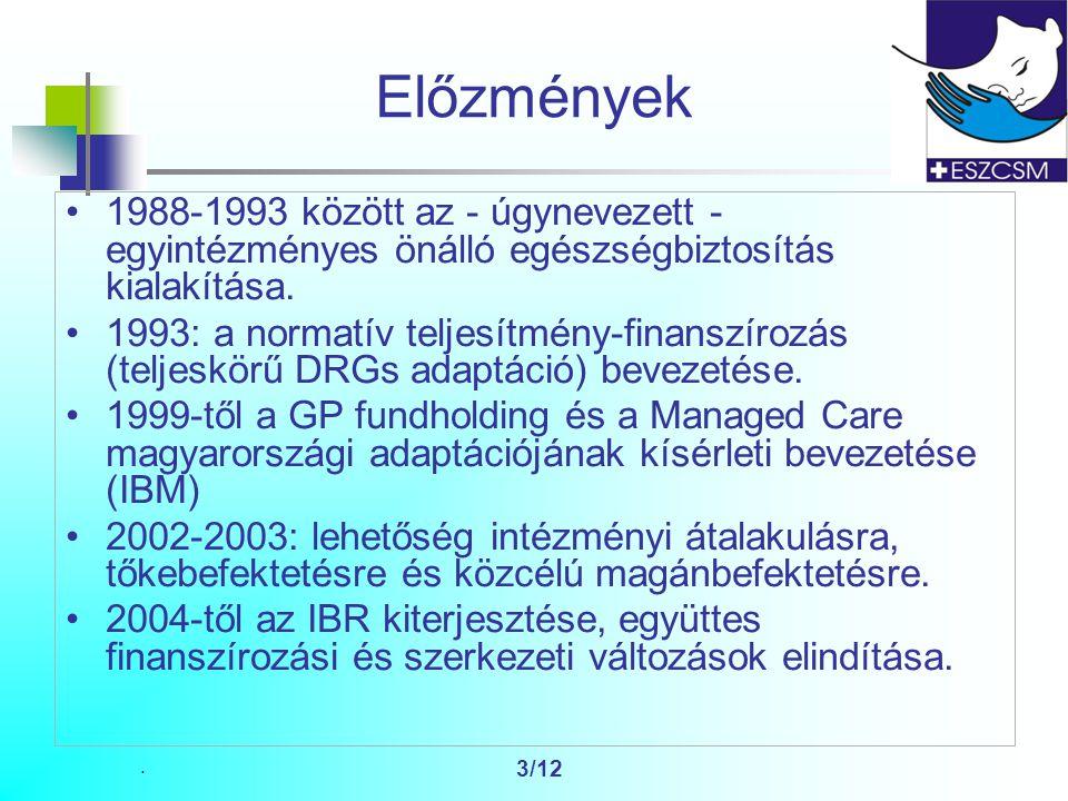 3/12 Előzmények 1988-1993 között az - úgynevezett - egyintézményes önálló egészségbiztosítás kialakítása.