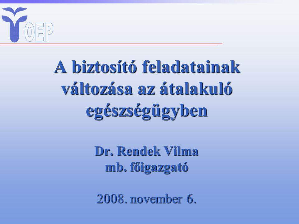 A biztosító feladatainak változása az átalakuló egészségügyben Dr. Rendek Vilma mb. főigazgató 2008. november 6.