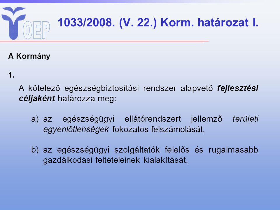 1033/2008. (V. 22.) Korm. határozat I. A Kormány 1. A kötelező egészségbiztosítási rendszer alapvető fejlesztési céljaként határozza meg: a)az egészsé