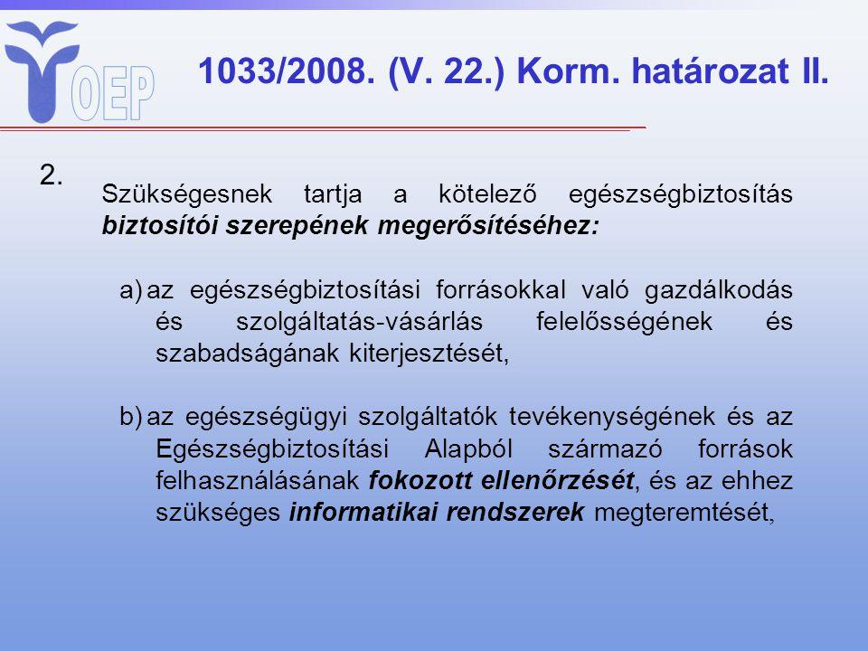 1033/2008. (V. 22.) Korm. határozat II. Szükségesnek tartja a kötelező egészségbiztosítás biztosítói szerepének megerősítéséhez: a)az egészségbiztosít