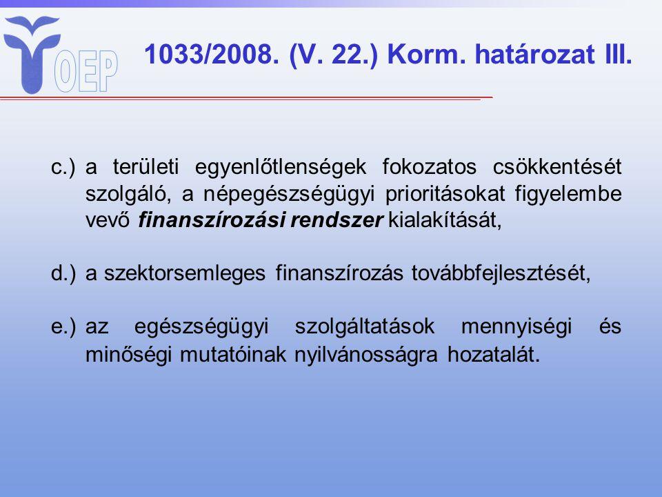 1033/2008. (V. 22.) Korm. határozat III. c.)a területi egyenlőtlenségek fokozatos csökkentését szolgáló, a népegészségügyi prioritásokat figyelembe ve