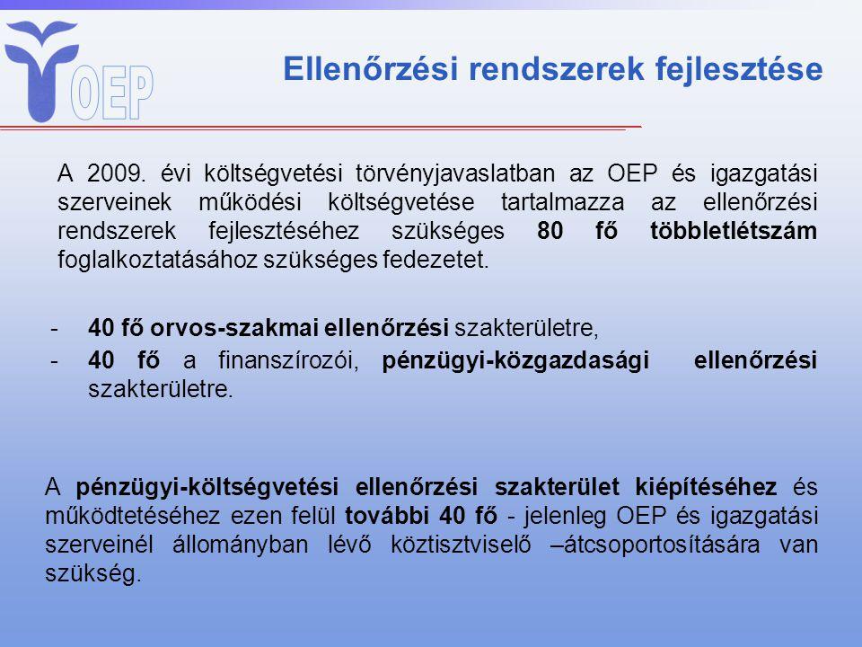 Ellenőrzési rendszerek fejlesztése A 2009. évi költségvetési törvényjavaslatban az OEP és igazgatási szerveinek működési költségvetése tartalmazza az