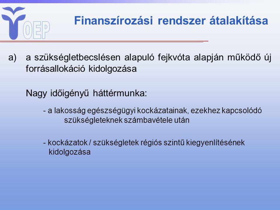Finanszírozási rendszer átalakítása a)a szükségletbecslésen alapuló fejkvóta alapján működő új forrásallokáció kidolgozása Nagy időigényű háttérmunka: