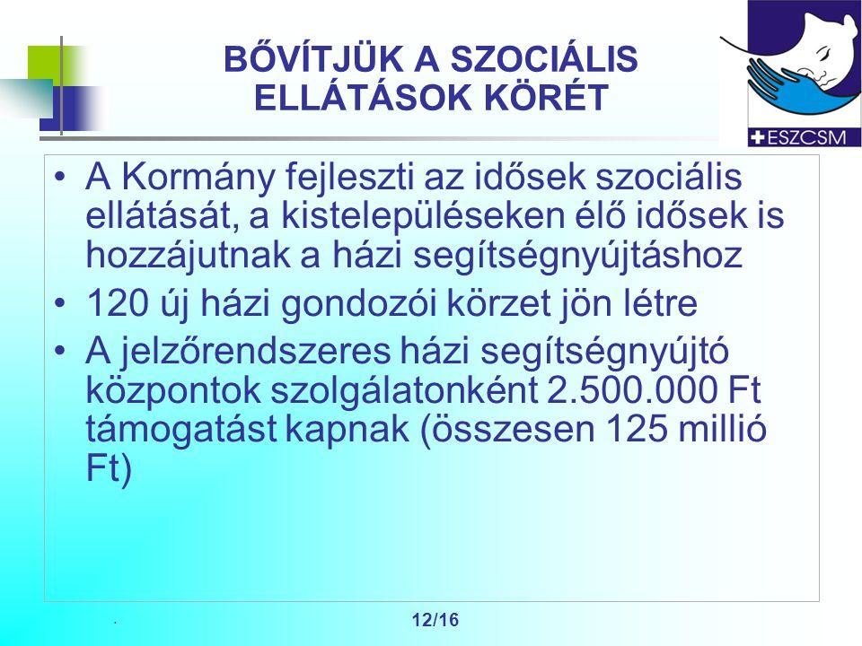 . 12/16 BŐVÍTJÜK A SZOCIÁLIS ELLÁTÁSOK KÖRÉT A Kormány fejleszti az idősek szociális ellátását, a kistelepüléseken élő idősek is hozzájutnak a házi segítségnyújtáshoz 120 új házi gondozói körzet jön létre A jelzőrendszeres házi segítségnyújtó központok szolgálatonként 2.500.000 Ft támogatást kapnak (összesen 125 millió Ft)