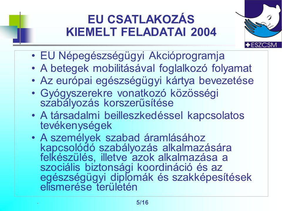 . 5/16 EU CSATLAKOZÁS KIEMELT FELADATAI 2004 EU Népegészségügyi Akcióprogramja A betegek mobilitásával foglalkozó folyamat Az európai egészségügyi kártya bevezetése Gyógyszerekre vonatkozó közösségi szabályozás korszerűsítése A társadalmi beilleszkedéssel kapcsolatos tevékenységek A személyek szabad áramlásához kapcsolódó szabályozás alkalmazására felkészülés, illetve azok alkalmazása a szociális biztonsági koordináció és az egészségügyi diplomák és szakképesítések elismerése területén