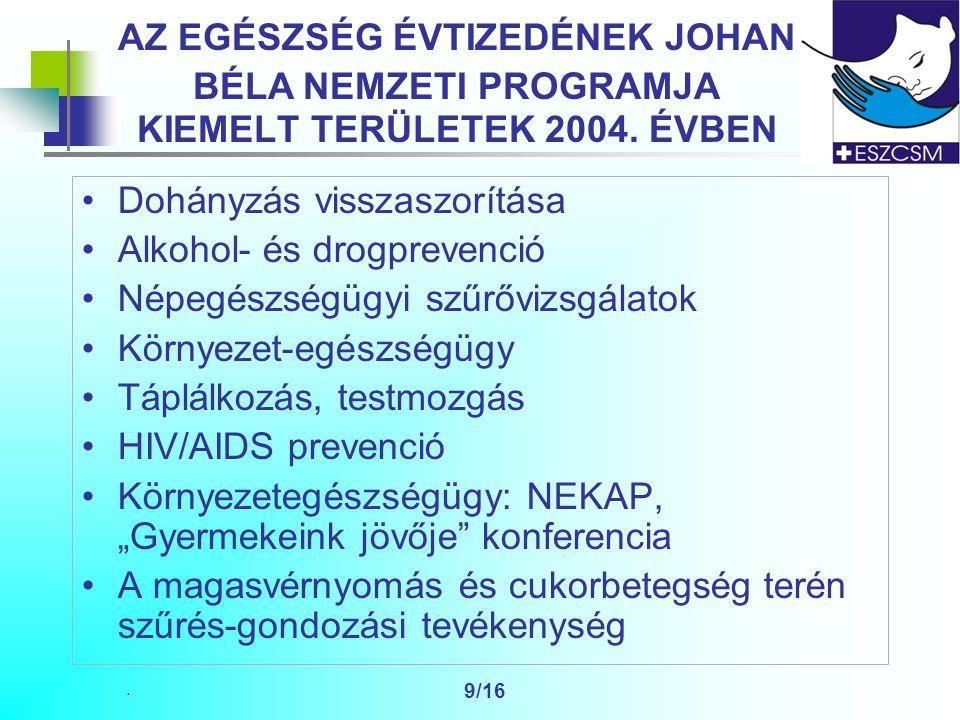 9/16 AZ EGÉSZSÉG ÉVTIZEDÉNEK JOHAN BÉLA NEMZETI PROGRAMJA KIEMELT TERÜLETEK 2004.