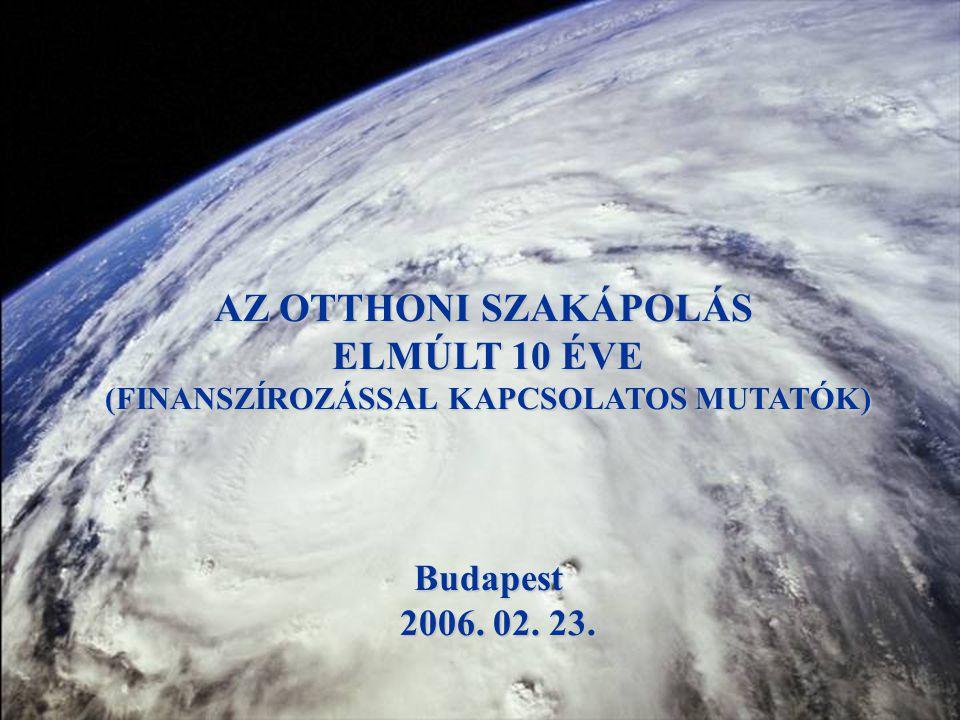 AZ OTTHONI SZAKÁPOLÁS ELMÚLT 10 ÉVE (FINANSZÍROZÁSSAL KAPCSOLATOS MUTATÓK) Budapest 2006. 02. 23. 2006. 02. 23.
