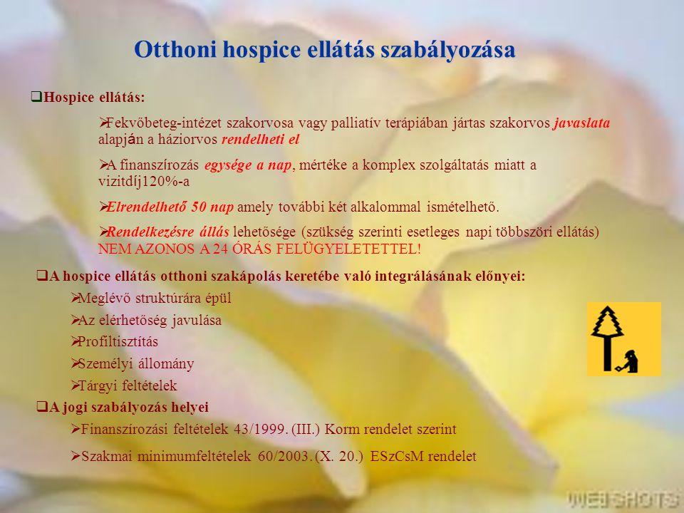 Otthoni hospice ellátás szabályozása  Hospice ellátás:  Fekvőbeteg-intézet szakorvosa vagy palliatív terápiában jártas szakorvos javaslata alapj á n