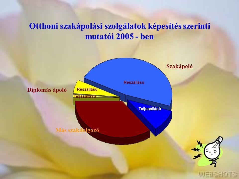 Otthoni szakápolási szolgálatok képesítés szerinti mutatói 2005 - ben Más szakdolgozó Diplomás ápoló Szakápoló Teljesállású Részállású