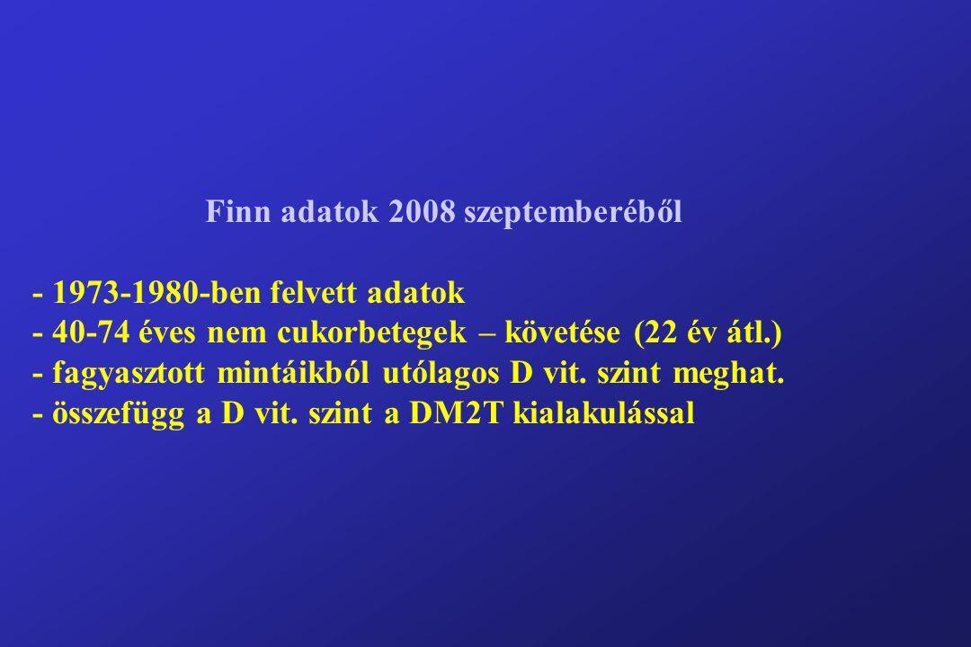 Finn adatok 2008 szeptemberéből - 1973-1980-ben felvett adatok - 40-74 éves nem cukorbetegek – követése (22 év átl.) - fagyasztott mintáikból utólagos D vit.