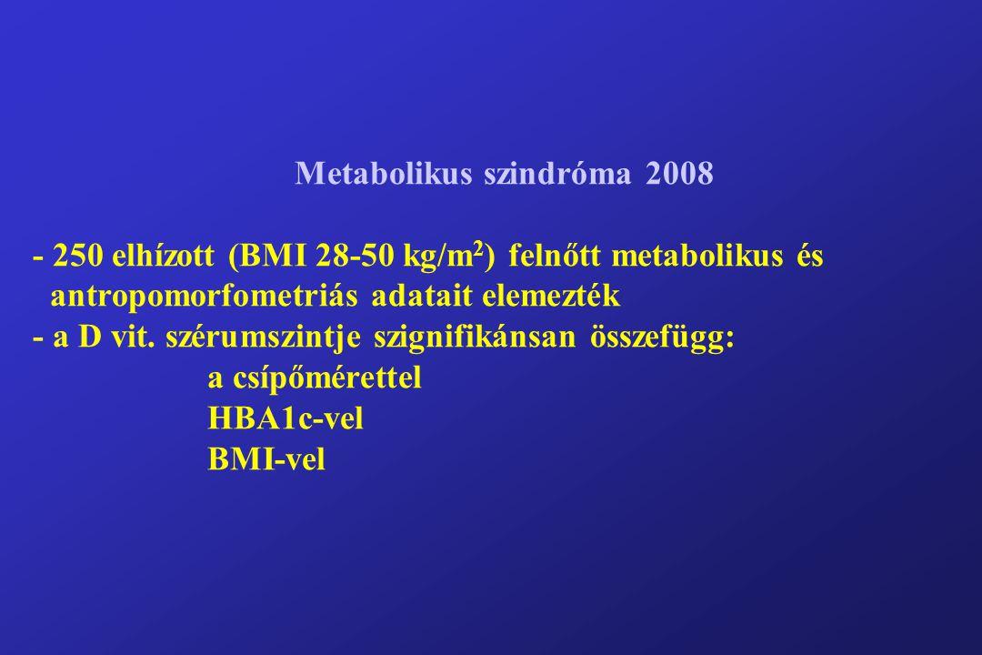 Metabolikus szindróma 2008 - 250 elhízott (BMI 28-50 kg/m 2 ) felnőtt metabolikus és antropomorfometriás adatait elemezték - a D vit.