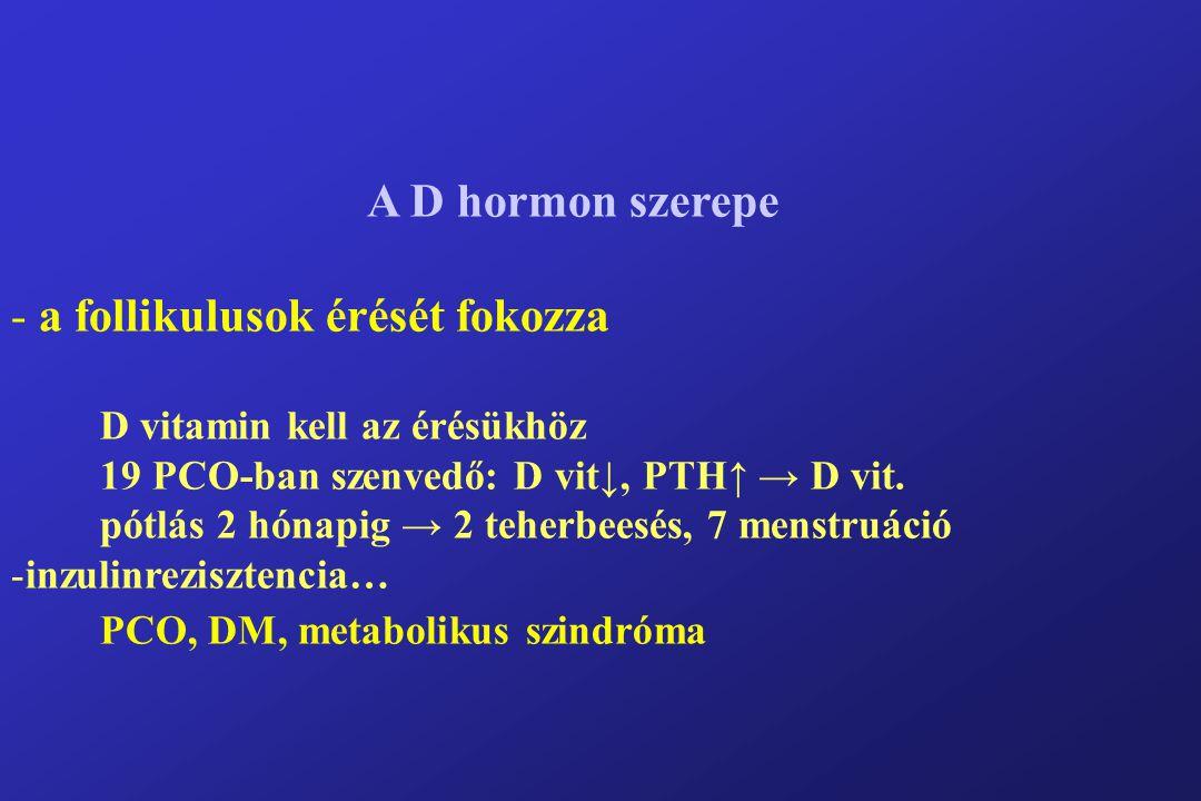 A D hormon szerepe - a follikulusok érését fokozza D vitamin kell az érésükhöz 19 PCO-ban szenvedő: D vit↓, PTH↑ → D vit.
