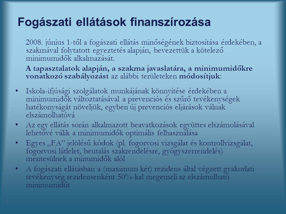 Fogászati ellátások finanszírozása 2008.