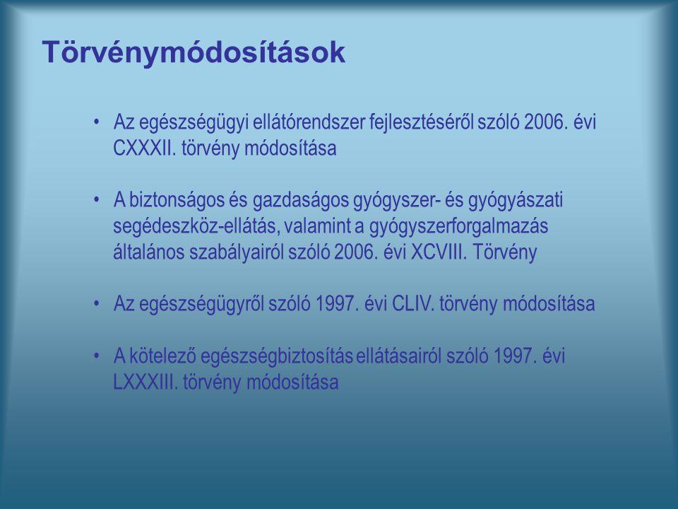 Törvénymódosítások Az egészségügyi ellátórendszer fejlesztéséről szóló 2006. évi CXXXII. törvény módosítása A biztonságos és gazdaságos gyógyszer- és