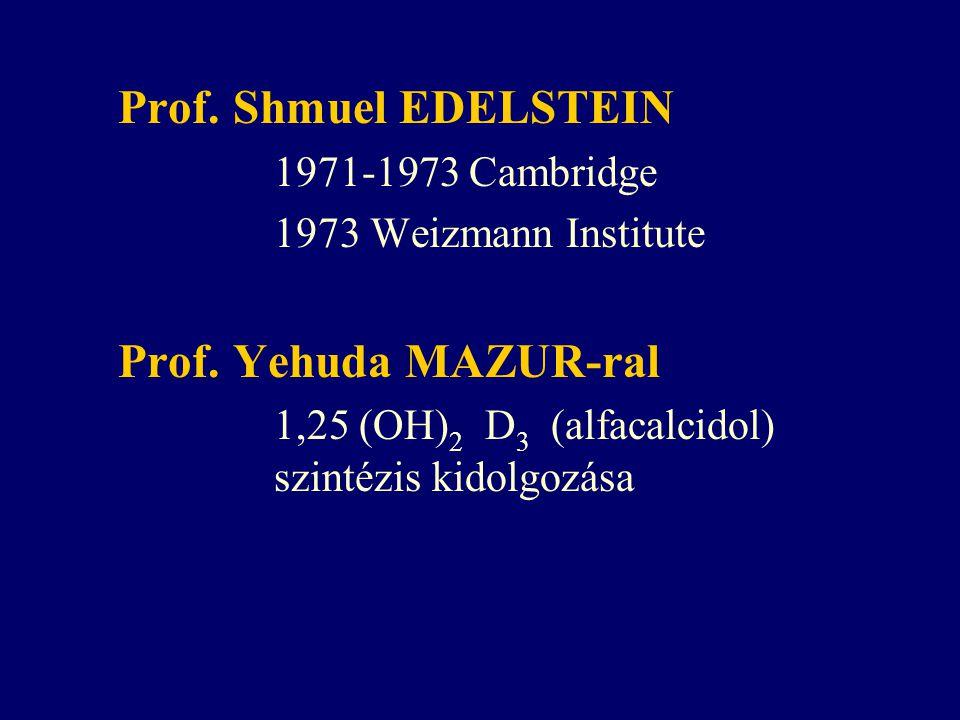 Prof. Shmuel EDELSTEIN 1971-1973 Cambridge 1973 Weizmann Institute Prof. Yehuda MAZUR-ral 1,25 (OH) 2 D 3 (alfacalcidol) szintézis kidolgozása