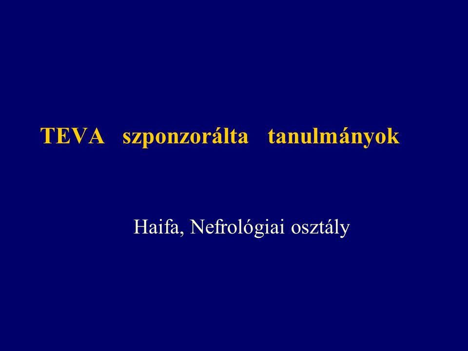 TEVA szponzorálta tanulmányok Haifa, Nefrológiai osztály