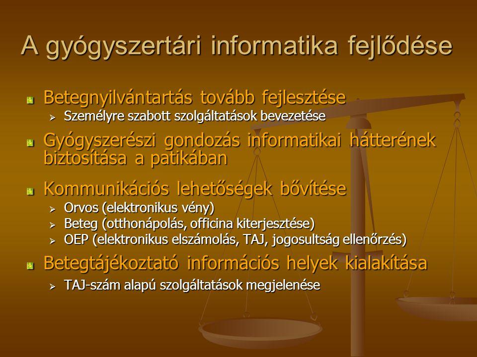 A gyógyszertári informatika fejlődése Betegnyilvántartás tovább fejlesztése  Személyre szabott szolgáltatások bevezetése Gyógyszerészi gondozás informatikai hátterének biztosítása a patikában Kommunikációs lehetőségek bővítése  Orvos (elektronikus vény)  Beteg (otthonápolás, officina kiterjesztése)  OEP (elektronikus elszámolás, TAJ, jogosultság ellenőrzés) Betegtájékoztató információs helyek kialakítása  TAJ-szám alapú szolgáltatások megjelenése