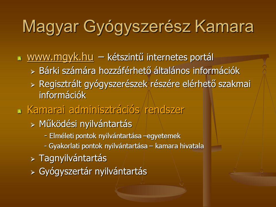 Magyar Gyógyszerész Kamara www.mgyk.huwww.mgyk.hu – kétszintű internetes portál www.mgyk.hu  Bárki számára hozzáférhető általános információk  Regisztrált gyógyszerészek részére elérhető szakmai információk Kamarai adminisztrációs rendszer  Működési nyilvántartás - Elméleti pontok nyilvántartása –egyetemek - Gyakorlati pontok nyilvántartása – kamara hivatala  Tagnyilvántartás  Gyógyszertár nyilvántartás