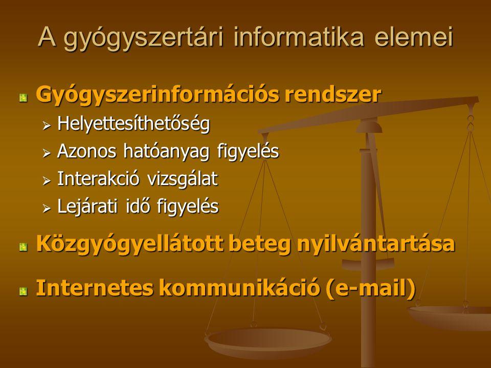 A gyógyszertári informatika elemei Gyógyszerinformációs rendszer  Helyettesíthetőség  Azonos hatóanyag figyelés  Interakció vizsgálat  Lejárati id